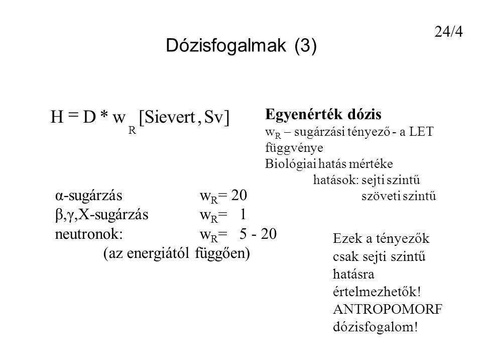 Dózisfogalmak (3) ] Sv , Sievert [ w * D H = 24/4 Egyenérték dózis